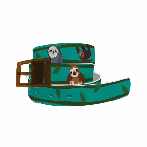 C4 Belt Swinging Sloths Belt with Brown Buckle Combo
