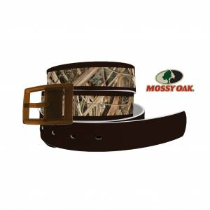 C4 Belt Mossy Oak - Shadow Grass Blades Brown Tip Belt with Brown Buckle Combo