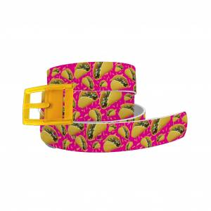 C4 Belt Tacos Hot Pink Belt with Yellow Buckle Combo