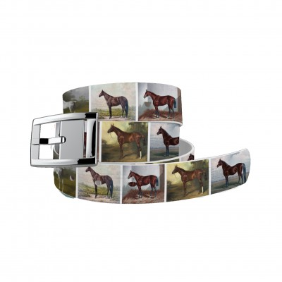 C4 Belt Vintage Horses Belt with Silver Chrome Buckle Combo