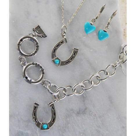 Finishing Touch Horseshoe Charm Bracelet with Imitation Turquoise Cabs