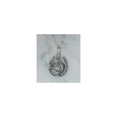 Finishing Touch Large Horse Head In Horseshoe Pendant