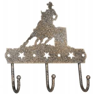 Tough-1 3 Hook Rack With Equine Motif And Glitter Finish - Barrel Racer