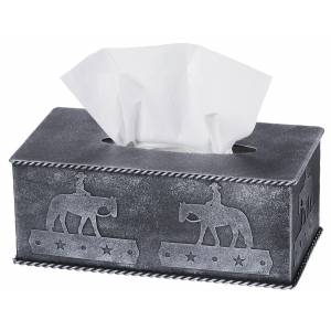 Tough-1 Tissue Box Cover With Equine Motif - Western Pleasure