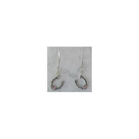 Finishing Touch Horseshoe with Stone Earrings - Euro Wire - Pink