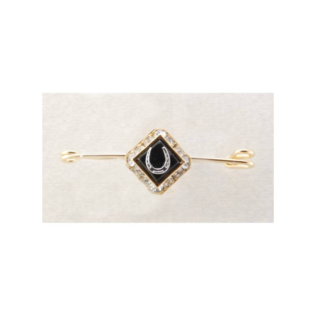 Finishing Touch Square Rondelle Stone & Horseshoe Stock Pin - Black Onyx