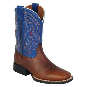 Ariat Quickdraw Western Boots - Kids - Brown/Royal Blue