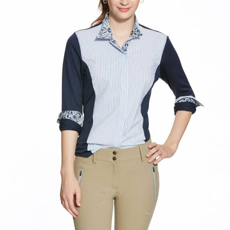 Ariat Triumph Liberty Show Shirt - Ladies, Blue Stripe