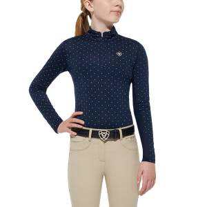 Ariat Sunstopper Top - Girls, Navy Dot