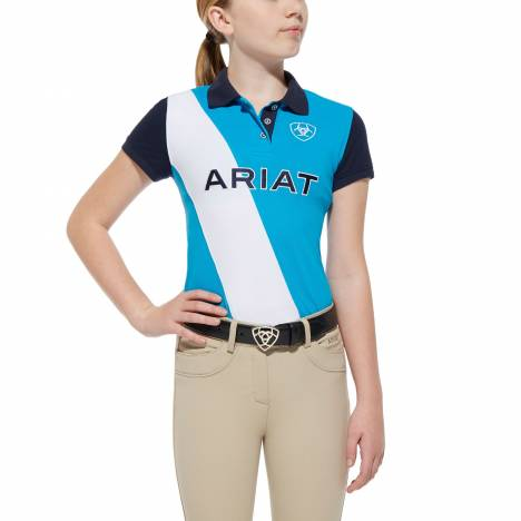 Ariat Taryn Polo - Girls, Scuba Blue