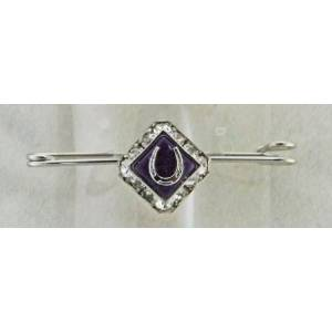 Finishing Touch Square Rondelle Stone & Horseshoe Stock Pin - Purple Jade