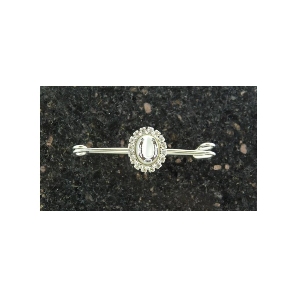Finishing Touch Mother of Pearl Oval Stock Pin with Horseshoe & Rhinestones