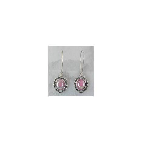 Finishing Touch Pink Mussel Stone Oval Frame Horseshoe Earrings - Kidney Wire