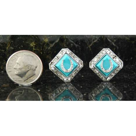 Finishing Touch Sq Rondelle Swarovski Mini Horseshoe Earrings - Im Turquoise
