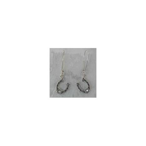 Finishing Touch Horseshoe with Stone Earrings - Euro Wire - Crystal