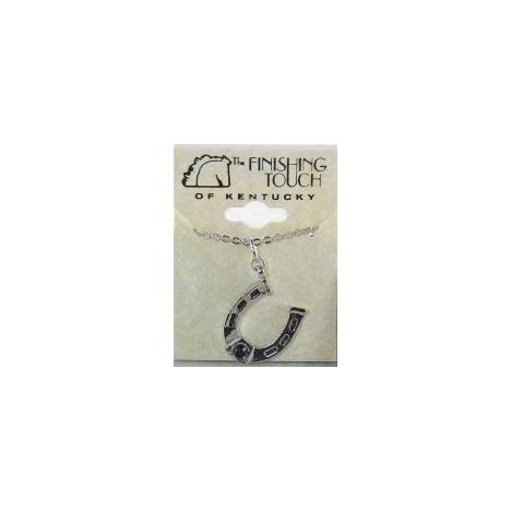 Finishing Touch Horseshoe with 3 mm Stone Necklace - Black Onyx