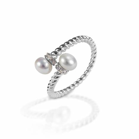 Kelly Herd Double Pearl Wrap Ring - Sterling Silver