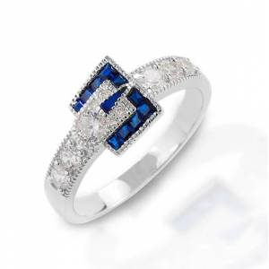 Kelly Herd Blue Spinel Buckle Ring - Sterling Silver