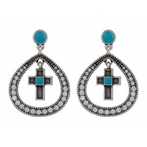 Rock 47 Rocks and Roll Rhinestone Teardrop Cross Earrings