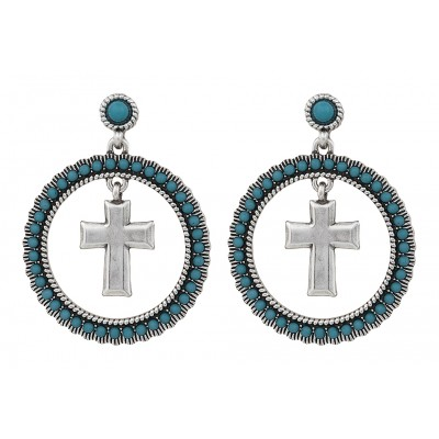 Rock 47 Rocks and Roll Turquoise Halo Earrings