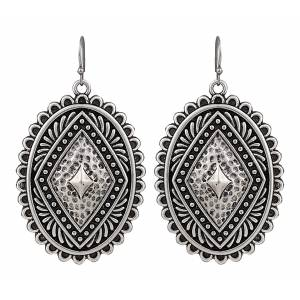 Rock 47 Points of Aztec Silver-tone Pyramid View Earrings