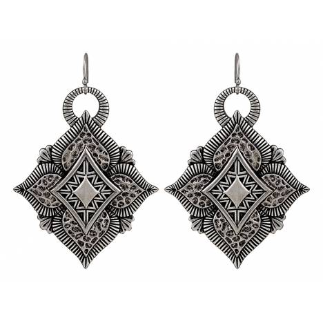 Rock 47 Vintage Kitsch Diamond Shaped Flower Earrings