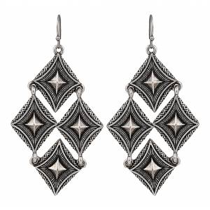 Rock 47 Points of Aztec Pyramid Views Cluster Earrings