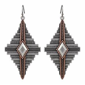 Rock 47 Points of Aztec Two-tone Pyramid View Earrings