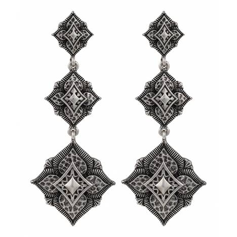 Rock 47 Vintage Kitsch Triple Diamond Shaped Flower Earrings