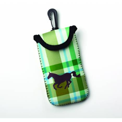 Kelley Tek Trek Neoprene Smartphone Case - Tan Plaid Galloping