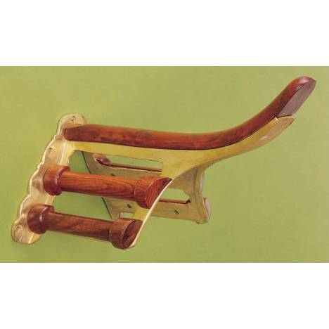 Horse Fare Brass and Wood Saddle Rack