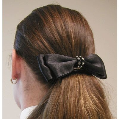 Diamond Hair Accessories Rhinestone Banded Satin Bow