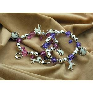 White Horse Bracelet with Charms