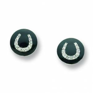 Kelley Black Enamel Horseshoe Post Earrings