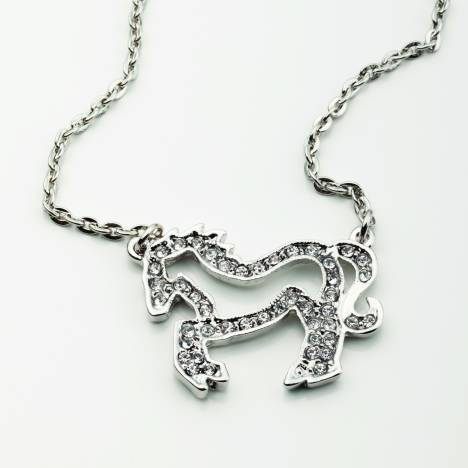 Clear Crystal Horse Necklace