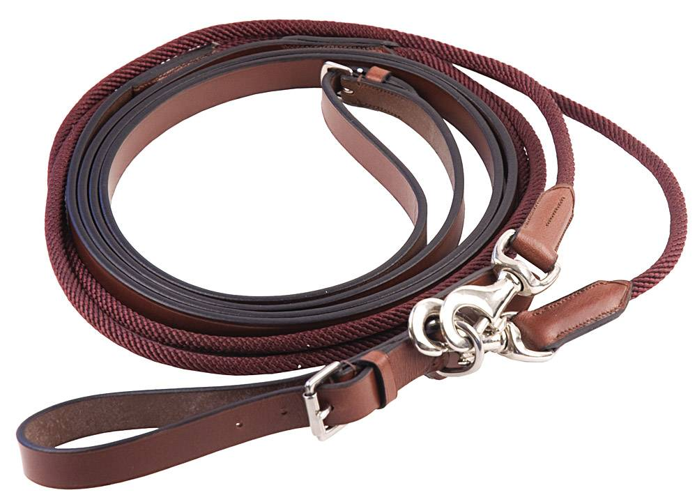 Henri de Rivel Rounded Nylon Leather Snap Draw Reins
