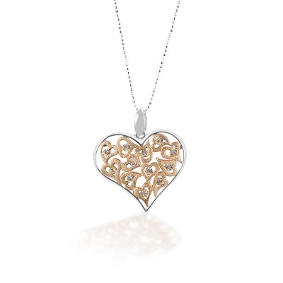 Kelly Herd Clear & Rose Gold Multi-Heart Pendant - Sterling Silver