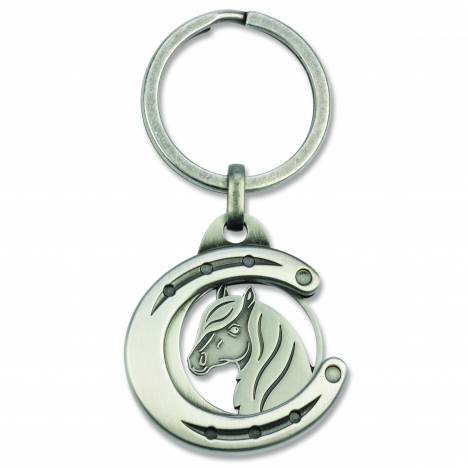 Kelley Metal Horseshoe with Horse Head Key Ring