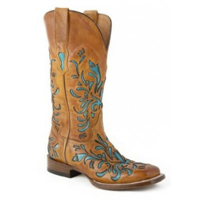 Stetson Square Toe Underlay Boots - Ladies, Tan/Turquoise