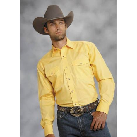 Roper Amarillo Poplin Shirt - Mens, Solid Yellow