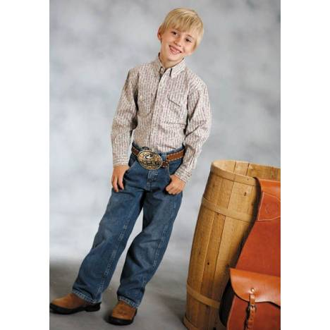 Roper Amarillo Western Shirt - Boys, Tan Stripe