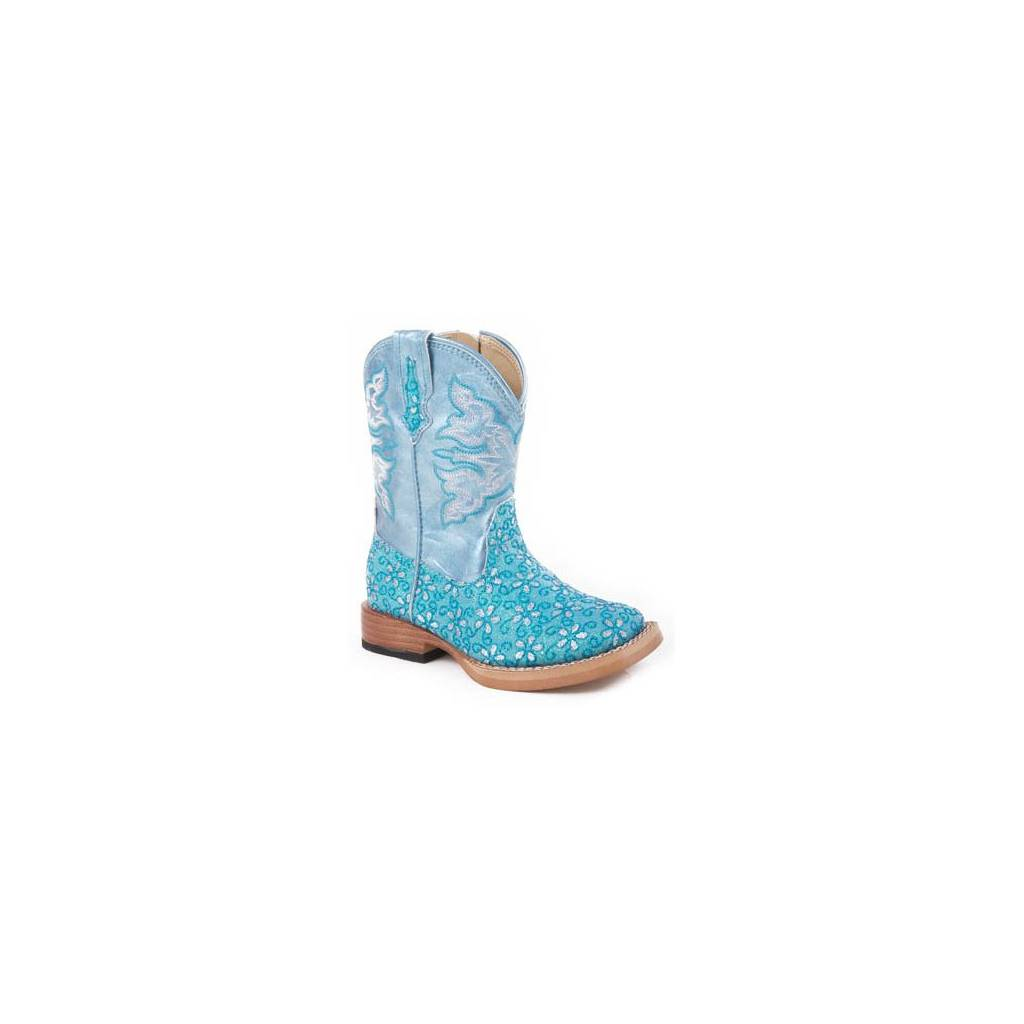 Roper Faux Leather Floral Glitter Boots - Infant, Turquoise