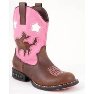 Roper Faux Leather Bronco Western Lights Boots - Kids, Brown/Pink