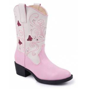 Roper Faux Leather Butterfly Lights Boots - Girls