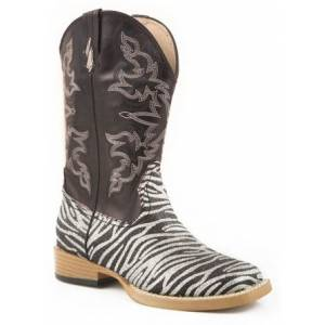 Roper Faux Leather Glitter Print Boots - Girls
