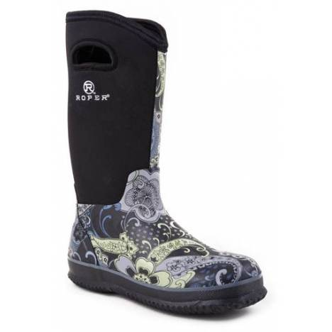 Roper Neoprene Barn Boots - Ladies, Black Paisley