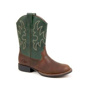 Roper Classic Faux Leather Western Boots - Kids, Brown/Green