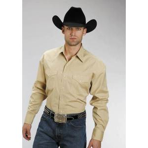 Stetson Long Sleeve Cotton Shirt - Mens, Gold