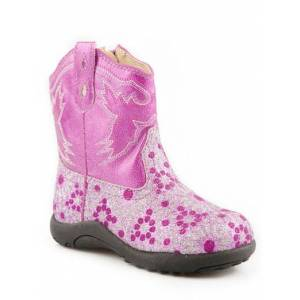 Roper Faux Leather Glitter Print Chunk Boots - Infants, Pink
