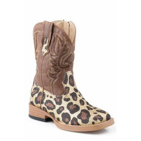 Roper Faux Leather Glitter Leoprd Print Boots - Toddler, Brown